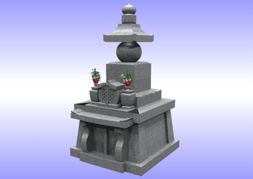五輪塔型墓石 右斜め 画像