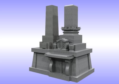 兄弟型墓石 右斜め 画像