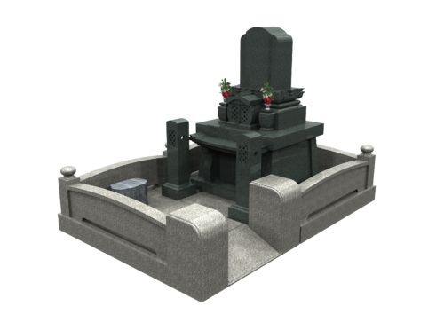 和洋折衷型墓石 参道スロープ型 画像