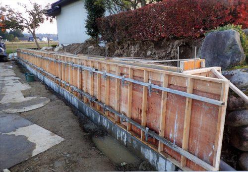 石塀の布基礎工事 写真