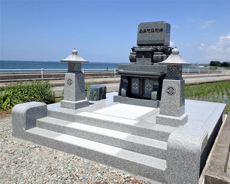 洋型墓石 門柱型 階段3段 画像