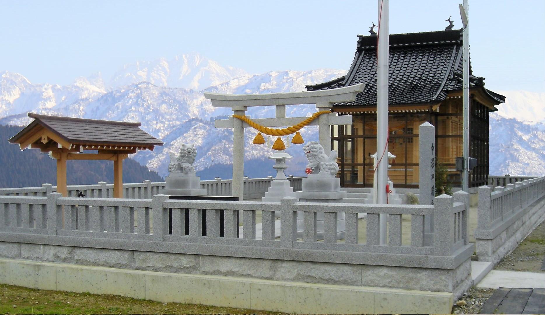 神社石工事 全景